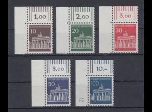 Berlin 1966 Dauerserie Brandenburger Tor Mi.-Nr. 286-290 Eckrandstücke **