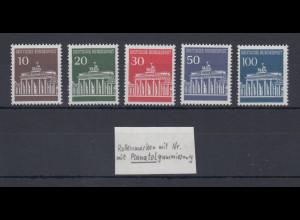 Bund 1966 Brandenburger Tor Mi.-Nr.506-510w Planatolgummi alle mit Zählnummer **