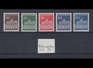 Bund 1966 Brandenburger Tor Mi.-Nr.506-510v glänzend.Gummi mit Zählnummer **