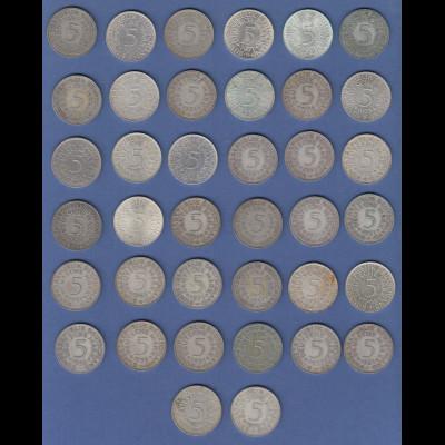 Bundesrepublik 5DM-Silberadler Silber-Anlage-Lot insgesamt 38 Stück