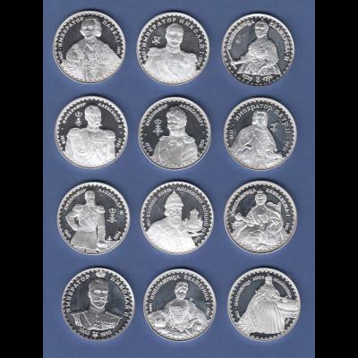 Russlands Geschichte, russische Fürsten, Satz 12 Silbermedaillen je 31,1 g Ag999