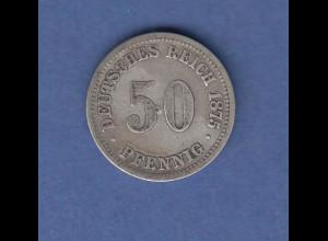 Deutsches Kaiserreich Münze 50 Pfennig 1875 B