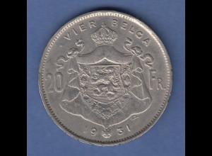 Kursmünze Belgien 20 Franken König Albert 1931