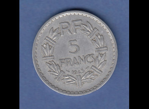 Kursmünze Frankreich 5 Francs Marianne 1945, aus Aluminium