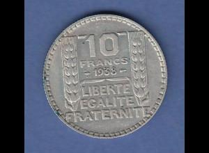 Frankreich Silbermünze 10 Francs 1938 Ag680 10g