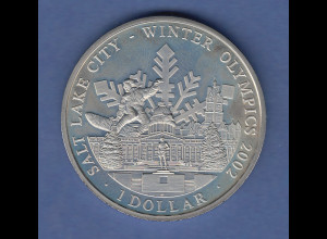 Cook Islands Olympische Spiele Salt Lake City 2002 1 Dollar Kapitol und Emblem