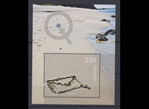 Schweiz moderne Privatpost QUICKMAIL Block Sandstrand mit Briefumschlag **
