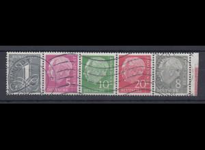 Bundesrepublik Heuss-Zusammendruck W17 X + W22 X im 5er-Streifen, gest. Dortmund