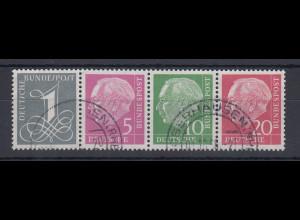 Bundesrepublik Heuss-Zusammendruck W17 X + W21 X im 4er-Streifen, O Oberhausen