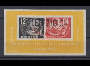 DDR 1950 DEBRIA-Block Mi.-Nr. Block 7 mit 3-farbigem Sonderstempel LEIPZIG
