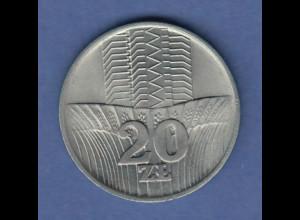 Polen / Polska Gedenkmünze 20 Zloty FAO Getreidefeld vor Hochhaus 1973
