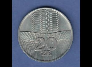 Polen / Polska Gedenkmünze 20 Zloty FAO Getreidefeld vor Hochhaus Jahr 1973