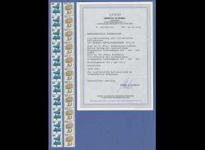 Bund Unfallverhütung 50 Pfg und 100 Pfg mit BLAUGRÜNER Nr. RA und 11er Streifen