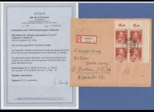 SBZ Bezirkshandstempel Bezirk 3 Berlin 25 Mi.-Nr. III ER-Vierer auf R-Brief