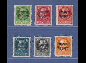 Bayern 1919 Portofreiheit Kriegsbeschädigte mit K-Lochung Mi.-Nr. 1-6 ** gepr.