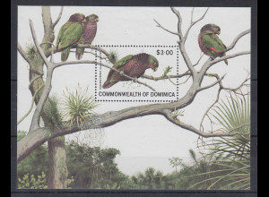 Dominica Mi.-Nr. Block 68 postfrisch ** / MNH Papageien
