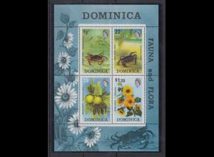 Dominica Mi.-Nr. Block 19 postfrisch ** / MNH Fauna und Flora