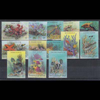 Barbuda Mi.-Nr. Satz Mi.-Nr. 973-985 postfrisch ** / MNH Meerestiere