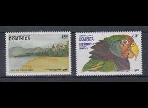 Dominica Mi.-Nr. Satz 1476-1477 postfrisch ** / MNH Strand und Papagei