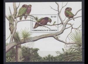 Dominica Mi.-Nr. Block 68 postfrisch ** / MNH Papagei