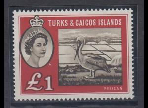 Turks & Caicos Mi.-Nr. 177 postfrisch ** / MNH Pelikan