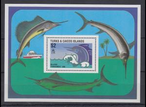 Turks & Caicos Mi.-Nr. Block 73 postfrisch ** / MNH Fische