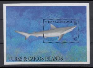 Turks & Caicos Mi.-Nr. Block ? postfrisch ** / MNH Scharfnasenhai