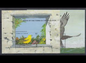 Turks & Caicos Mi.-Nr. Block 83-84 postfrisch ** / MNH Vögel
