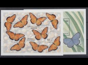 Turks & Caicos Mi.-Nr. Block 85-86 postfrisch ** / MNH Schmetterlinge