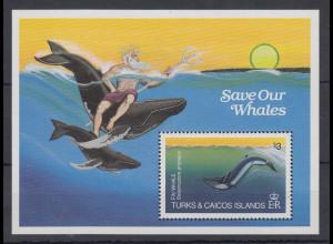 Turks & Caicos Mi.-Nr. Block 44 postfrisch ** / MNH Save our Whales