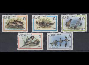 Turks & Caicos Mi.-Nr. Satz 481-485 postfrisch ** / MNH Vögel