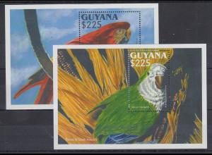 Guyana Mi.-Nr. Block 242-243 postfrisch ** / MNH Papageien