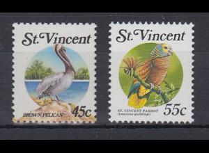 St. Vincent Mi.-Nr. 1107, 1287 postfrisch ** / MNH Pelikan & Papagei