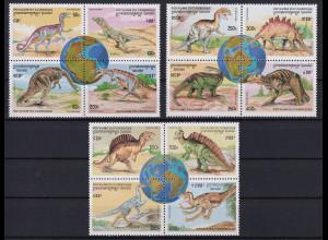 Kambodscha 1996 Mi.-Nr. 1619-1630 Satz postfrisch ** / MNH Dinosaurier