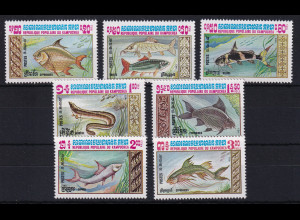 Kambodscha 1983 Mi.-Nr. 523-529 Satz postfrisch ** / MNH Fische