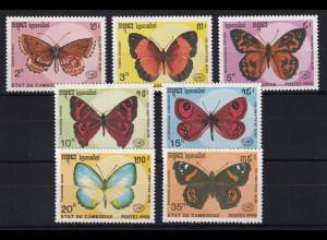 Kambodscha 1990 Mi.-Nr. 1142-1148 Satz postfrisch ** / MNH Schmetterlinge