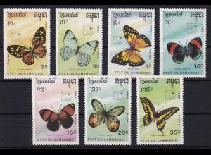 Kambodscha 1989 Mi.-Nr. 1075-1081 Satz postfrisch ** / MNH Schmetterlinge