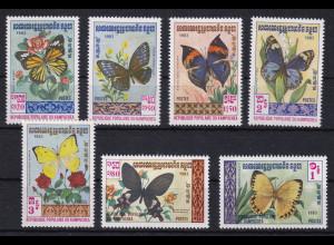 Kambodscha 1983 Mi.-Nr. 462-468 Satz postfrisch ** / MNH Schmetterlinge