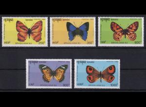 Kambodscha 1993 Mi.-Nr. 1354-1358 Satz postfrisch ** / MNH Schmetterlinge