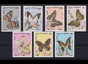 Kambodscha 1986 Mi.-Nr. 769-775 Satz postfrisch ** / MNH Schmetterlinge