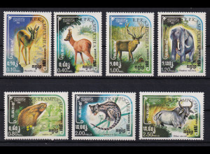 Kambodscha 1984 Mi.-Nr. 613-619 Satz postfrisch ** / MNH Tiere der Savanne