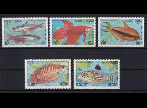 Kambodscha 1992 Mi.-Nr. 1273-1277 Satz postfrisch ** / MNH Zierfische