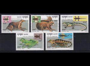 Kambodscha 1993 Mi.-Nr. 1349-1353 Satz postfrisch ** / MNH Flugfähige Tiere