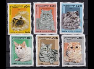 Kambodscha 1997 Mi.-Nr. 1717-1722 Satz postfrisch ** / MNH Katzen
