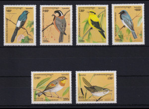Kambodscha 1996 Mi.-Nr. 1592-1597 Satz postfrisch ** / MNH Vögel