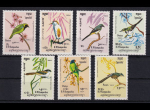Kambodscha 1984 Mi.-Nr. 550-556 Satz postfrisch ** / MNH Vögel