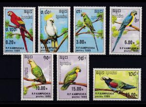 Kambodscha 1989 Mi.-Nr. 1016-1022 Satz postfrisch ** / MNH Papageien