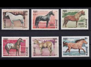 Kambodscha 1986 Mi.-Nr. 731-736 Satz postfrisch ** / MNH Pferde