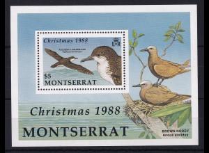 Montserrat 1988 Mi.-Nr. Block 50 postfrisch ** / MNH Weihnachten 1988, Vögel
