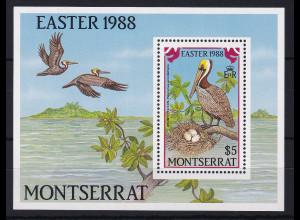 Montserrat 1988 Mi.-Nr. Block 48 postfrisch ** / MNH Ostern 1988, Pelikan